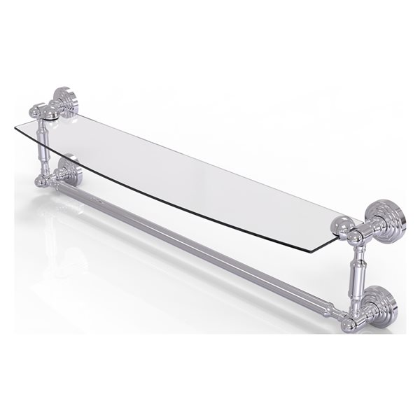Allied Brass Waverly Place Collection 24-in Glass Vanity Shelf with Integrated Towel Bar - Polished Chrome