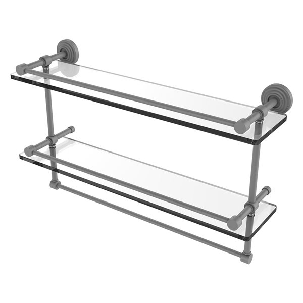 Allied Brass Waverly Place 22-in Double Glass Shelf with Towel Bar - Matte Grey