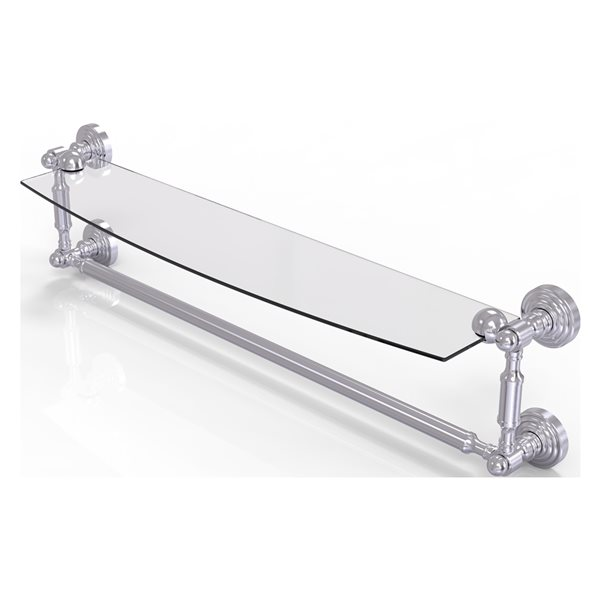 Allied Brass Waverly Place Collection 24-in Glass Vanity Shelf with Integrated Towel Bar - Satin Chrome