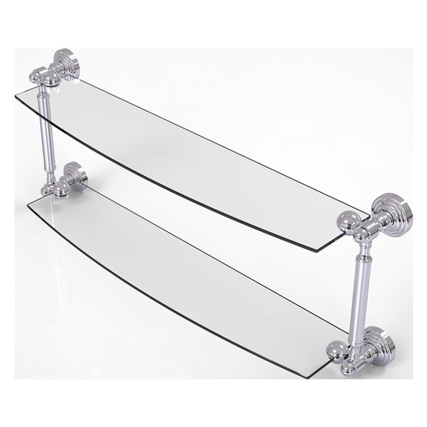 Allied Brass Waverly Place Collection 24-in 2-Tier Glass Shelf - Polished Chrome