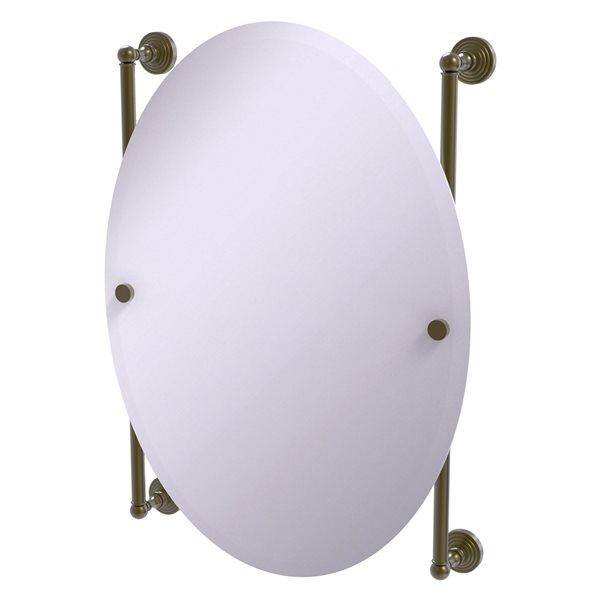 Allied Brass Waverly Place 21-in Antique Brass Oval Frameless Bathroom Mirror