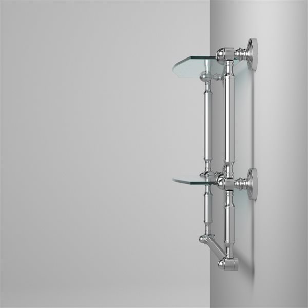 Allied Brass Waverly Place 18-in 2-Tier Glass Shelf with Integrated Towel Bar - Polished Chrome