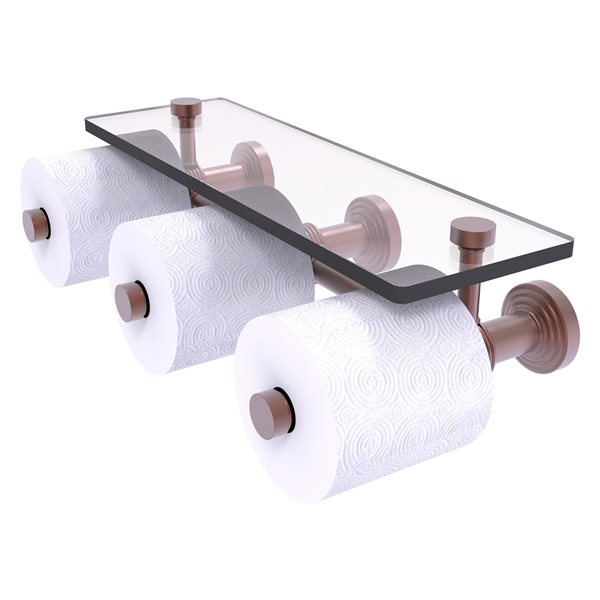 Allied Brass Waverly Place Horizontal Reserve 3-Roll Toilet Paper Holder with Glass Shelf - Antique Copper