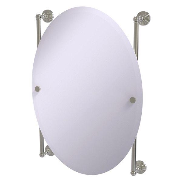 Allied Brass Waverly Place 21-in Satin Nickel Oval Frameless Bathroom Mirror