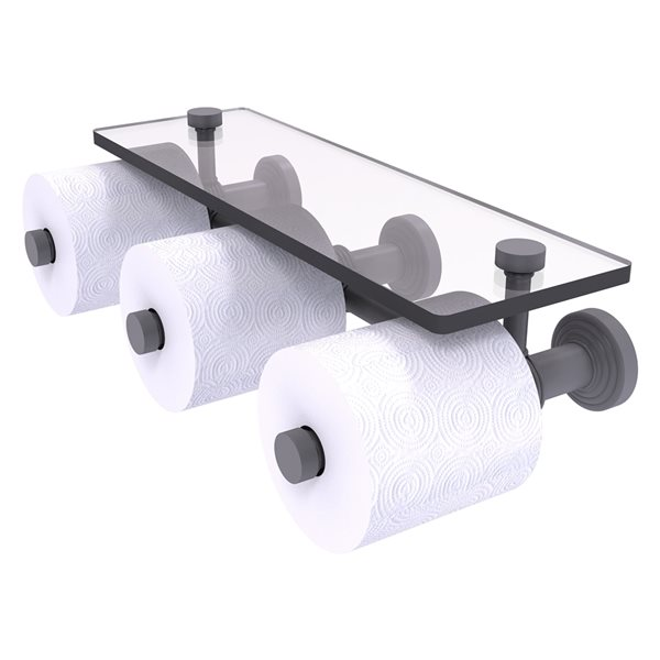 Allied Brass Waverly Place Horizontal Reserve 3-Roll Toilet Paper Holder with Glass Shelf - Matte Grey