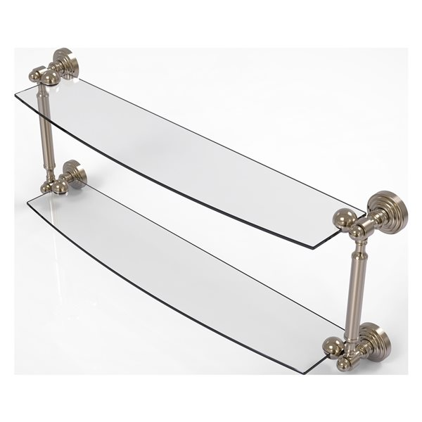Allied Brass Waverly Place Collection 24-in 2-Tier Glass Shelf - Antique Pewter
