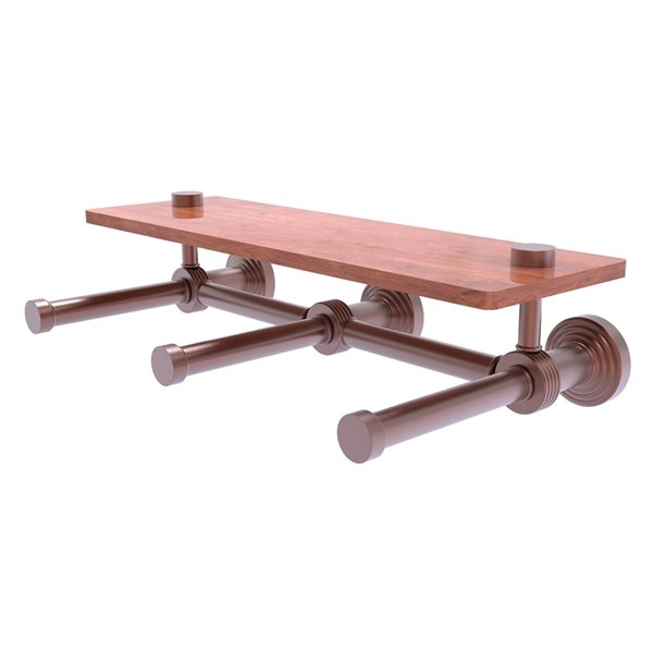 Allied Brass Waverly Place Horizontal Reserve 3-Roll Toilet Paper Holder with Wood Shelf - Antique Copper