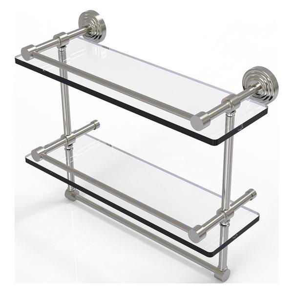Allied Brass Waverly Place 16-in Double Glass Shelf with Towel Bar - Satin Nickel