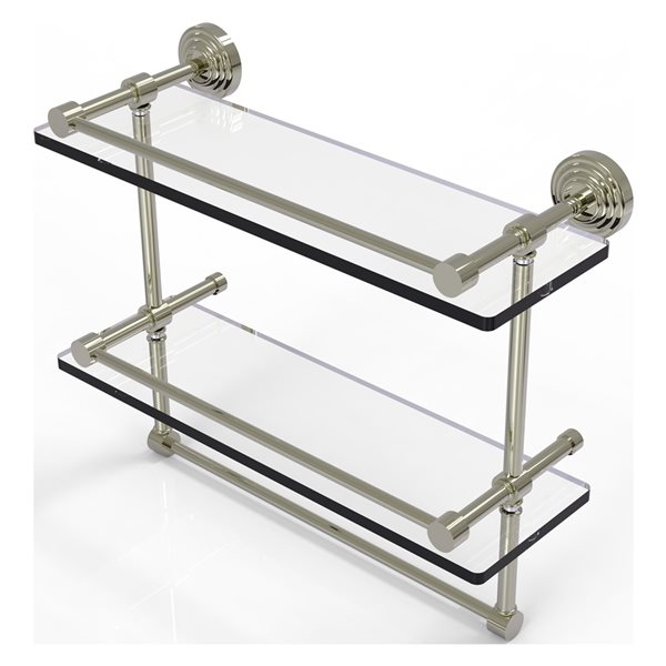 Allied Brass Waverly Place 16-in Double Glass Shelf with Towel Bar - Polished Nickel