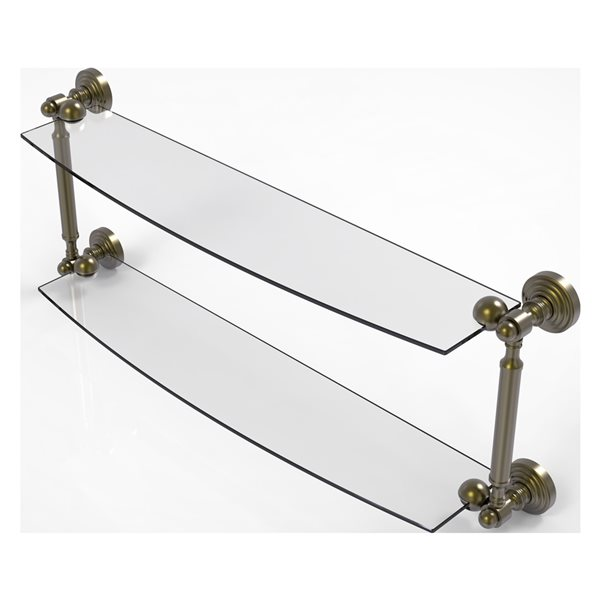 Allied Brass Waverly Place Collection 24-in 2-Tier Glass Shelf - Antique Brass