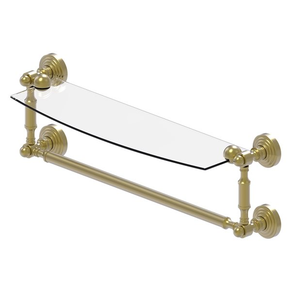 Allied Brass Waverly Place Collection 18-in Glass Vanity Shelf with Integrated Towel Bar - Satin Brass