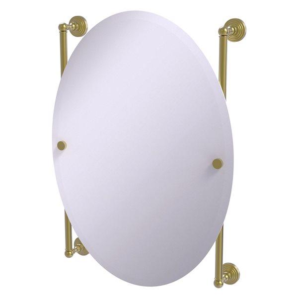 Allied Brass Waverly Place 21-in Satin Brass Oval Frameless Bathroom Mirror