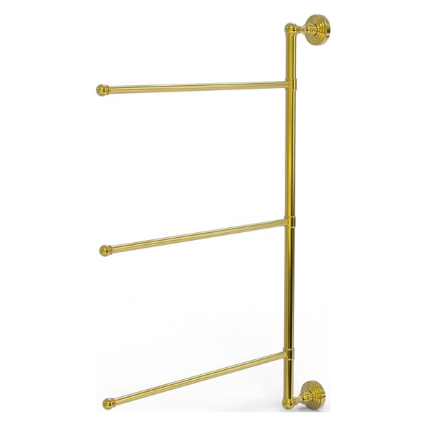 Allied Brass Waverly Place 3-Swing Arm Vertical 28-in Towel Bar - Polished Brass