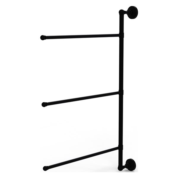 Allied Brass Waverly Place 3-Swing Arm Vertical 28-in Towel Bar - Matte Black