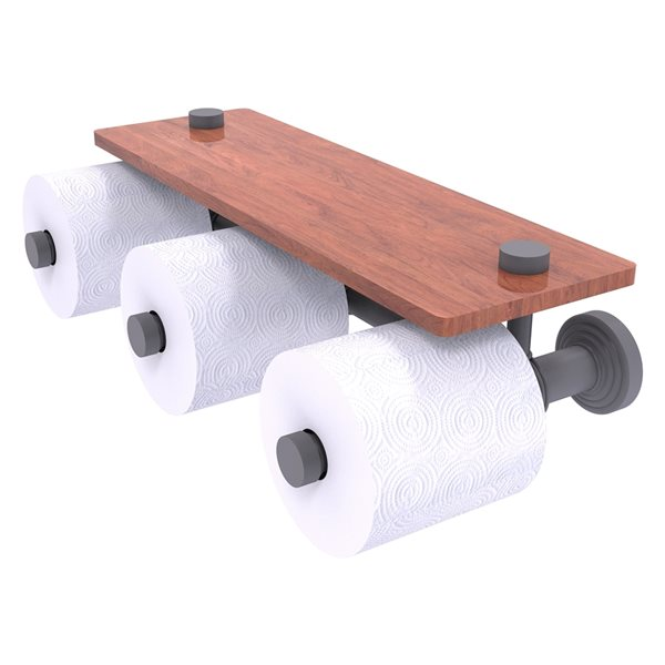 Allied Brass Waverly Place Horizontal Reserve 3-Roll Toilet Paper Holder with Wood Shelf - Matte Grey