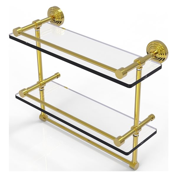 Allied Brass Waverly Place 16-in Double Glass Shelf with Towel Bar - Polished Brass
