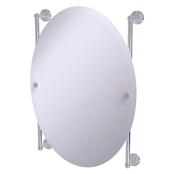 Allied Brass Waverly Place 21-in Polished Chrome Oval Frameless Bathroom Mirror
