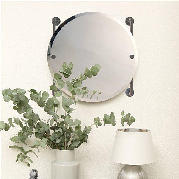 Allied Brass Waverly Place 22-in Matte Grey Round Frameless Bathroom Mirror