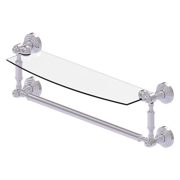 Allied Brass Waverly Place Collection 18-in Glass Vanity Shelf with Integrated Towel Bar - Satin Chrome