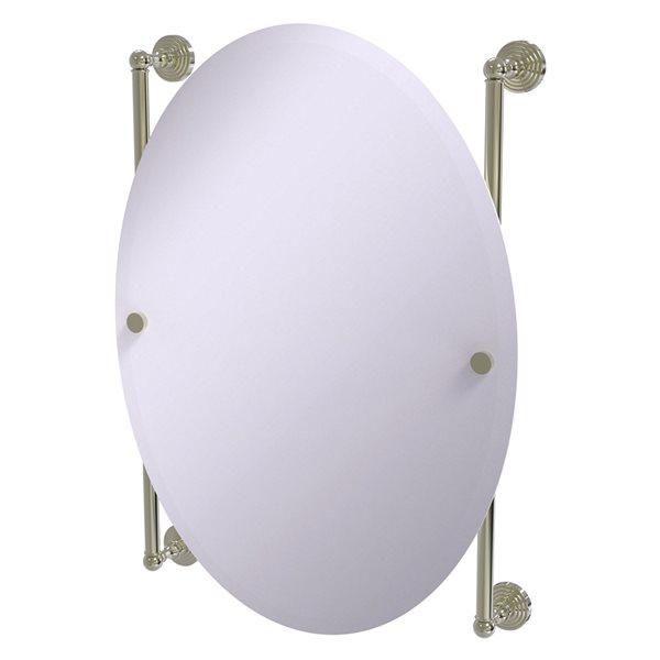 Allied Brass Waverly Place 21-in Polished Nickel Oval Frameless Bathroom Mirror