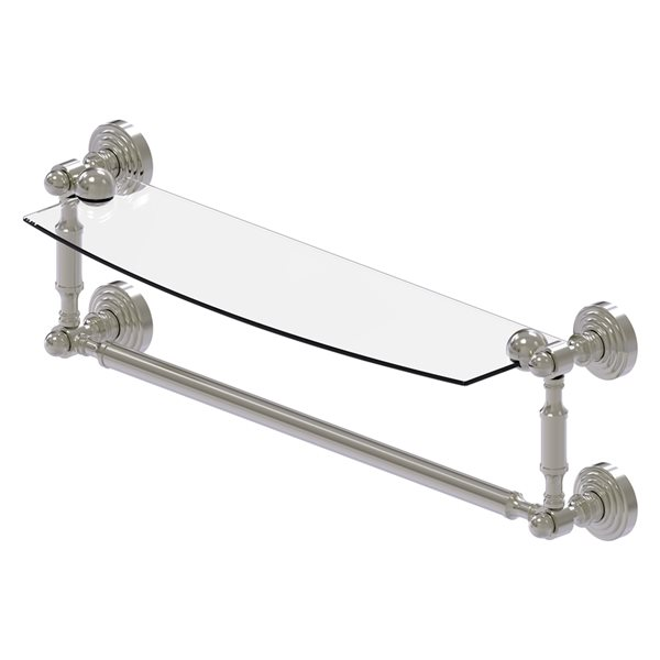 Allied Brass Waverly Place Collection 18-in Glass Vanity Shelf with Integrated Towel Bar - Satin Nickel