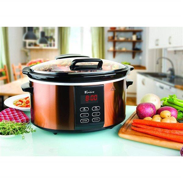 Euro Cuisine 6 qt. Copper Oval 1-Vessel Programmable Slow Cooker