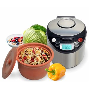 VitaClay 6-Cups Stainless Steel Programmable Commercial/Residential Multicooker and Rice Cooker