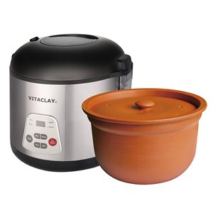 VitaClay 6-Cups Stainless Steel Programmable Commercial/Residential Slow Cooker and Rice Cooker