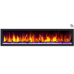 Dynasty Fireplaces 82.5-in Black Smart Control Electric Fireplace
