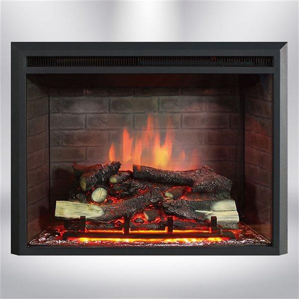Foyer électrique encastrable à DEL Dynasty Fireplaces noir mat de 35 po
