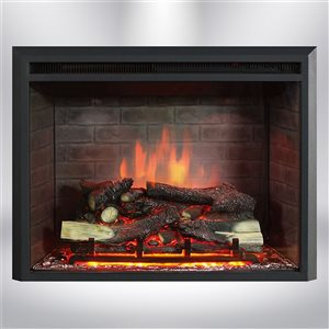 Dynasty Fireplaces 35-in Black Matte LED Electric Fireplace Insert