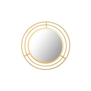A&E Bath and Shower Galion 24-in L x 24-in W Round Gold Framed Wall Mirror