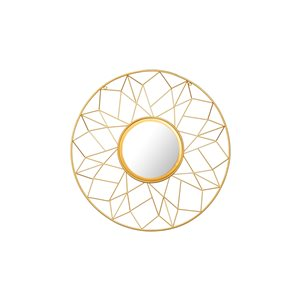 A&E Bath and Shower Anna 25-in L x 25-in W Round Gold Framed Wall Mirror