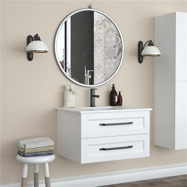 A&E Bath and Shower Haylo 32-in Silver Round Bathroom Mirror