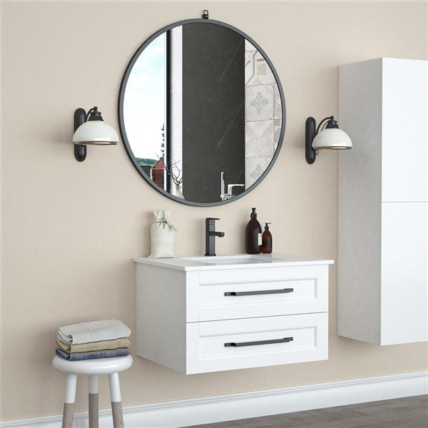 A&E Bath and Shower Haylo 36-in Black Round Bathroom Mirror