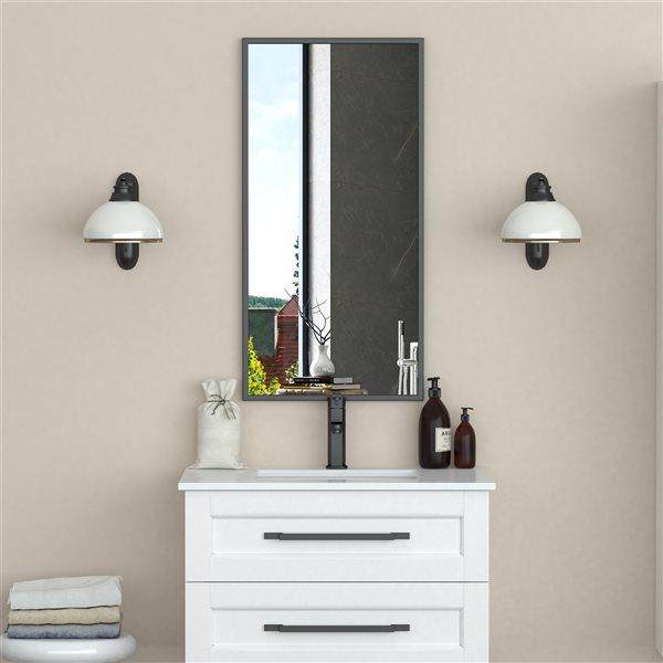 A&E Bath and Shower Prime 18-in Black Rectangular Bathroom Mirror