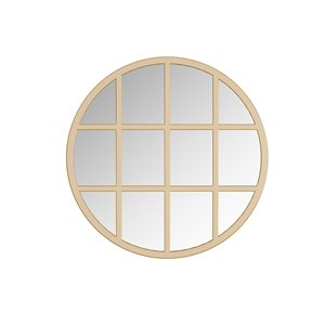 A&E Bath and Shower Sadler 28-in L x 28-in W Round Gold Framed Wall Mirror