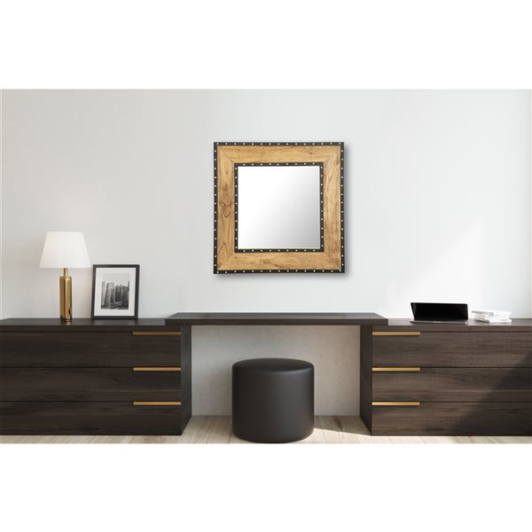 A&E Bath and Shower Roselle 30-in L x 30-in W Square Wood Finish Framed Wall Mirror