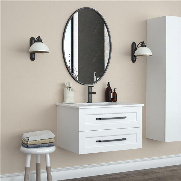 A&E Bath and Shower Sandy 24-in Black Oval Bathroom Mirror