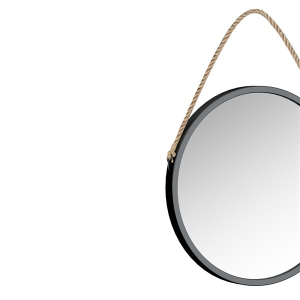 A&E Bath and Shower Bolan 23.62-in L x 23.62-in W Round Black Framed Wall Mirror