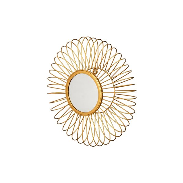 A&E Bath and Shower Piney 19.5-in L x 19.5-in W Round Gold Framed Wall Mirror