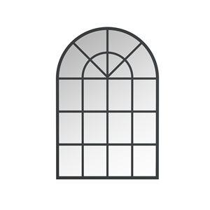 A&E Bath and Shower Mesilla 28-in L x 26-in W Arch Black Framed Wall Mirror