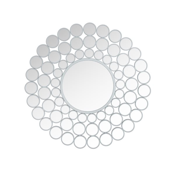 A&E Bath and Shower Fedora 38-in L x 38-in W Round Silver Framed Wall Mirror