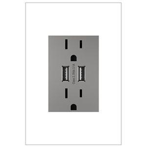 Prise de courant gris magnésium résidentielle décorative inviolable adorne par Legrand de 15 A