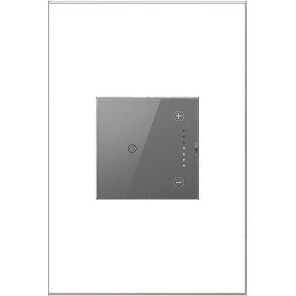 Gradateur de lumière à effleurement adorne de Legrand unipolaire et à 3 voies, gris magnésium