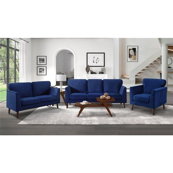 HomeTrend Tolley 3-Piece Blue Velvet Living Room Set