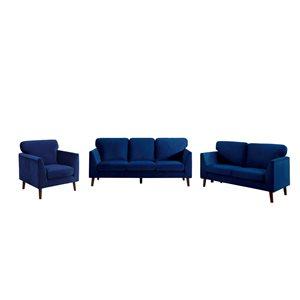Ensemble de mobilier de salon de 3 pièces Tolley par HomeTrend en velours bleu
