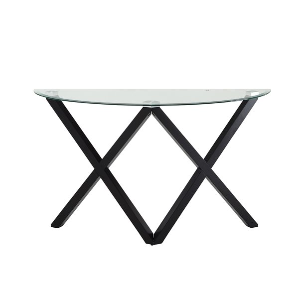 HomeTrend Ivy Dark Espresso Wood with Glass Modern Sofa Table