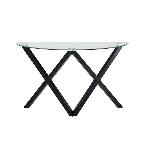 Table console Ivy par HomeTrend en verre et bois espresso foncé