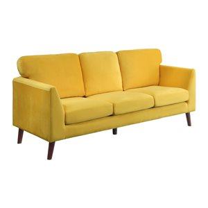 Hometrend Tolley Modern Yellow Velvet Sofa